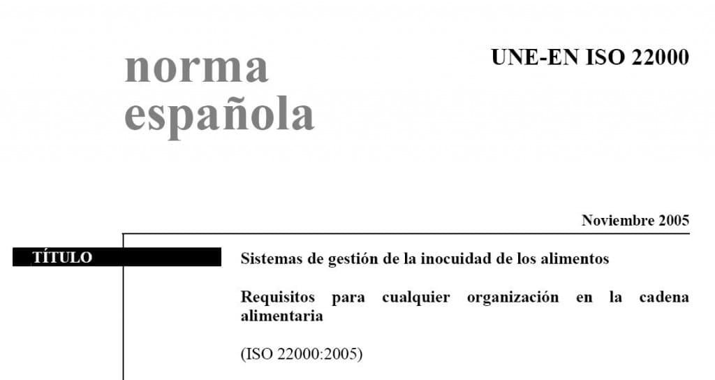 UNE EN ISO 22000